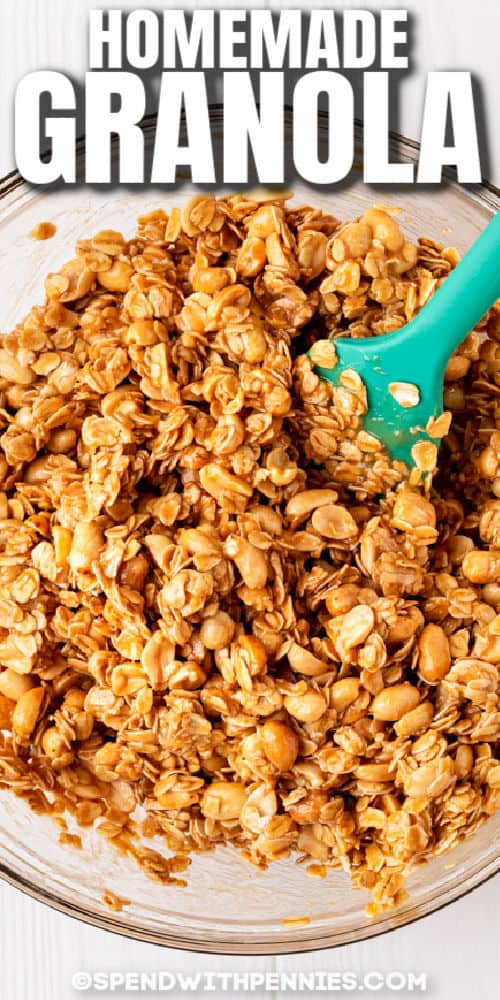 mixing Peanut Butter Granola with a title