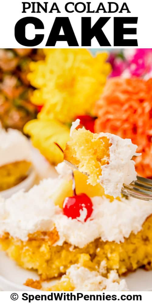Pina Colada Cake on a fork with writing