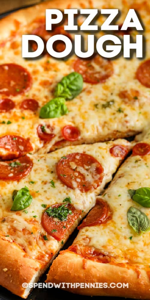 pizza with writing for pizza dough
