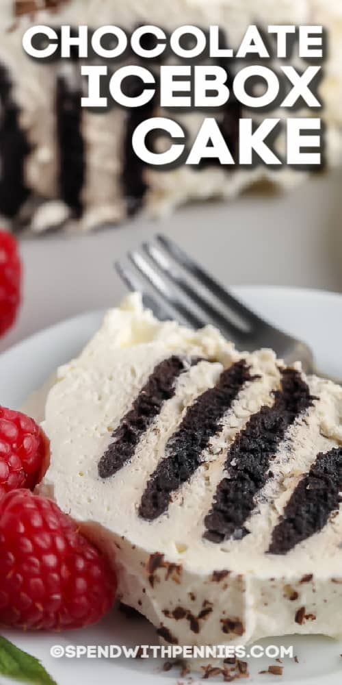 slice of Chocolate Icebox Cake on a plate with text