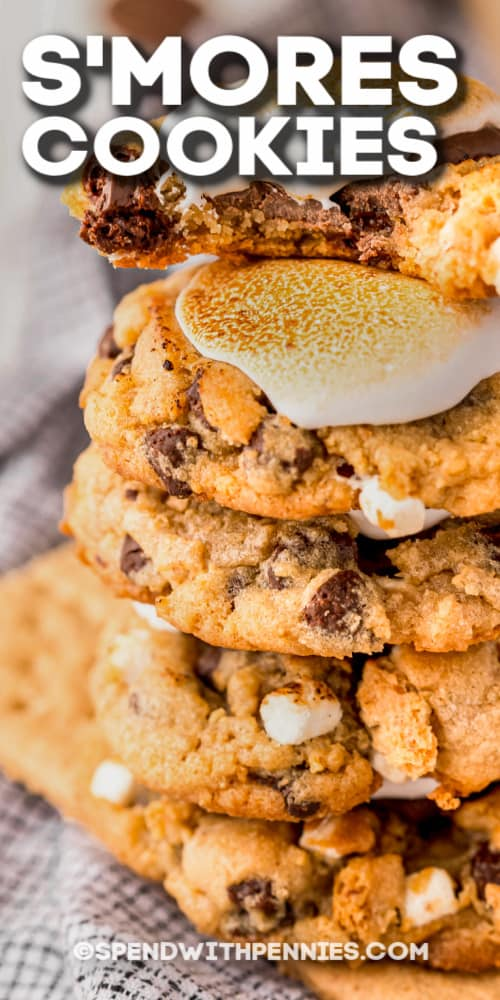 stack of s'mores cookies with text