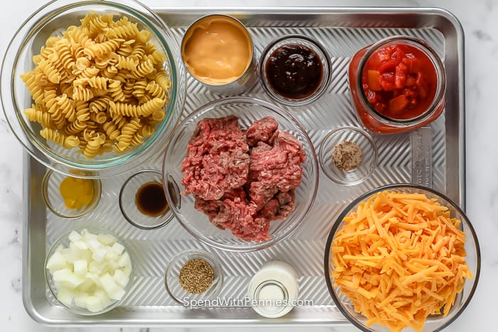 ingredients assembled to make cheeseburger casserole