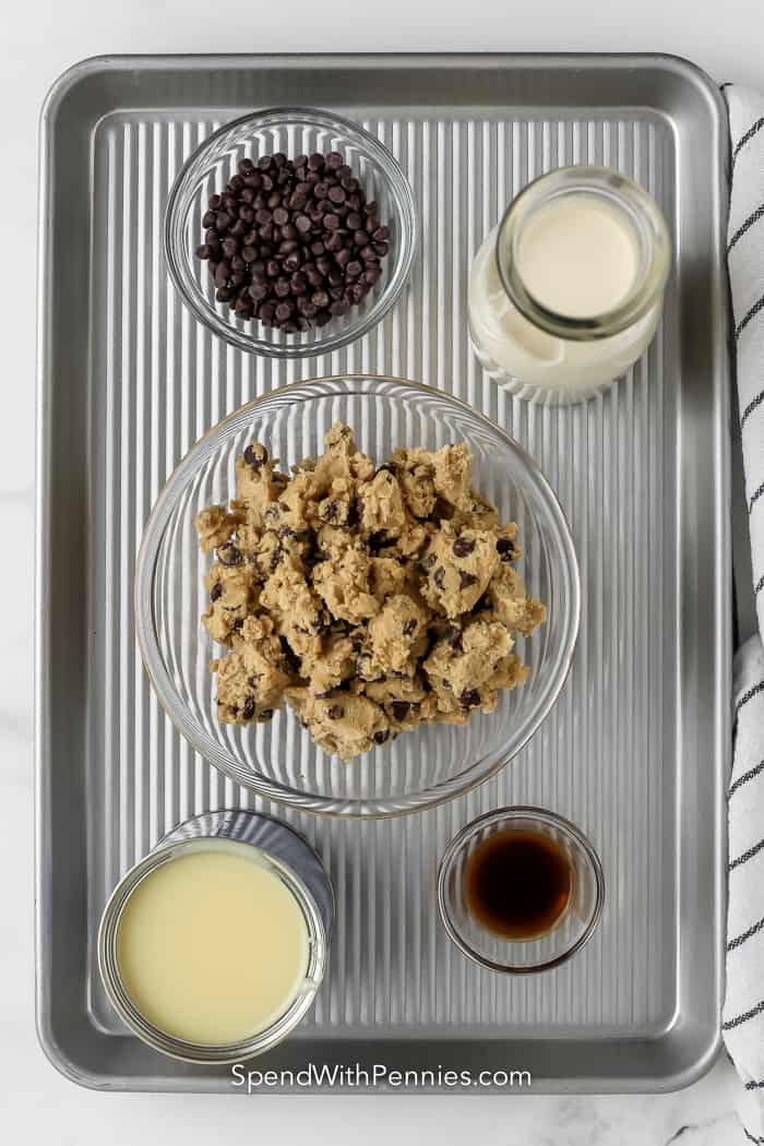 Ingredients assembled to make cookie dough ice cream