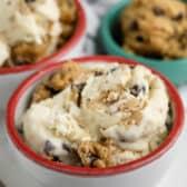 cookie dough ice cream in three bowls
