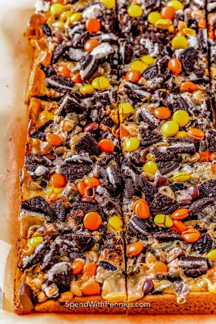 peanut butter cookie magic bars in a pan