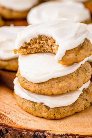 close up of a stack of Zucchini Cookies with a bite taken from the top one