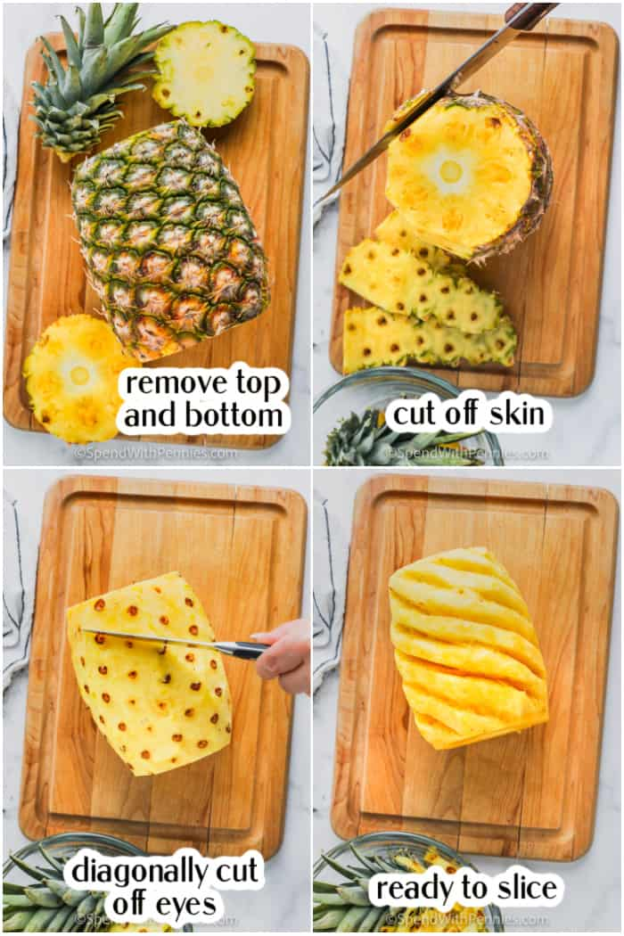 cutting a pineapple on a wood board