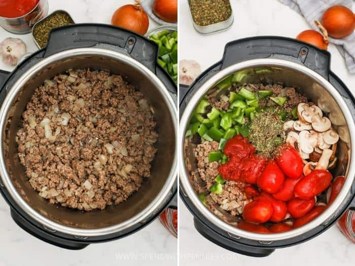 process of adding ingredients to pot to make Instant Pot Pasta Sauce
