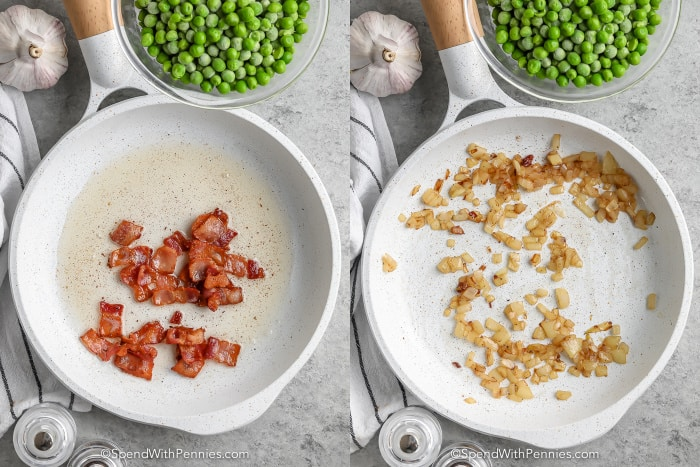process of cooking bacon and aromatics