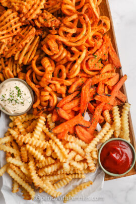 Air Fryer Frozen French Fries cooked with dips