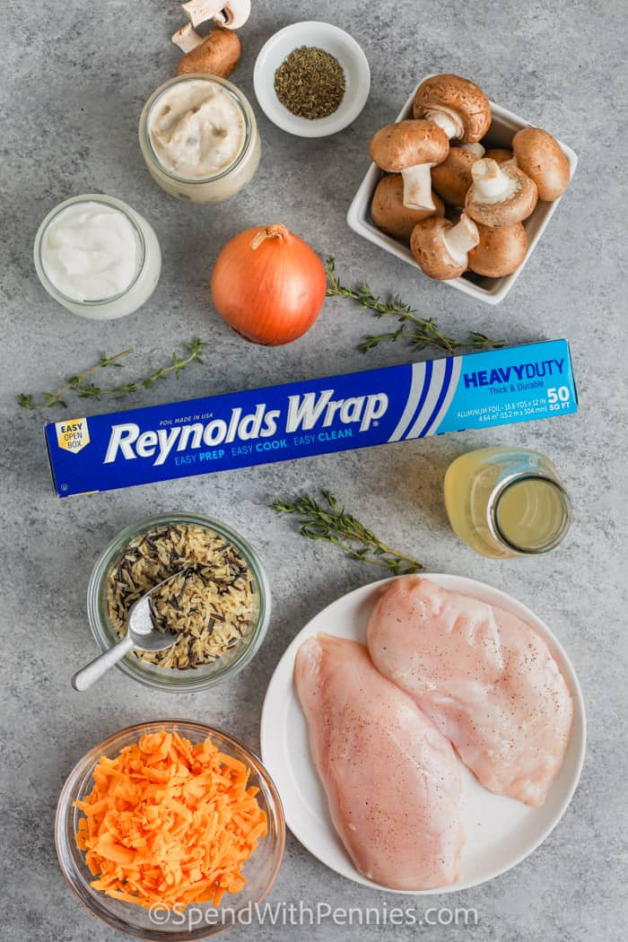 ingredients and Reynolds wrap to make Chicken and Wild Rice Casserole
