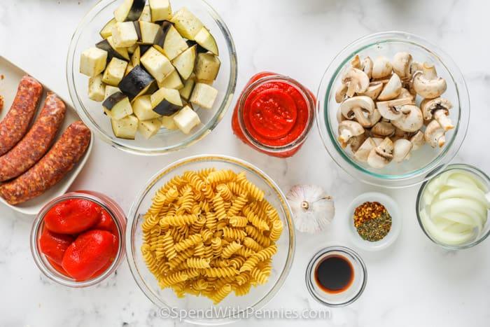 ingredients to make Crock Pot Sausage Pasta