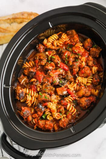 top view of cooked Crock Pot Sausage Pasta in the crock pot