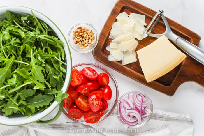 ingredients to make Easy Arugula Salad