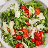 top view of plated Easy Arugula Salad