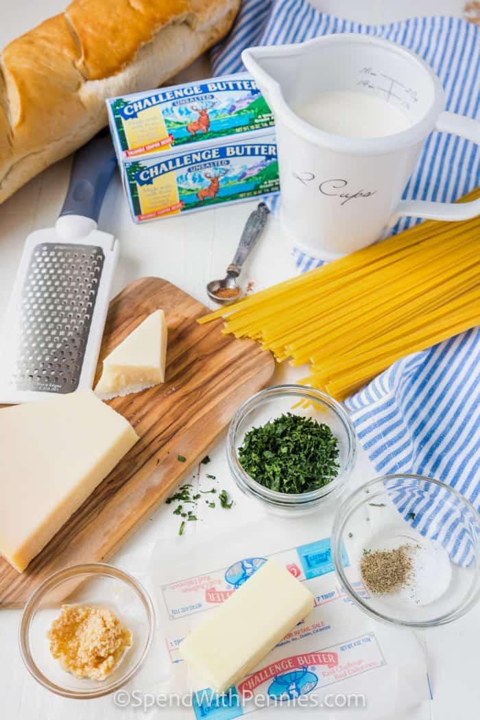 Fettuccine Alfredo ingredients on a table
