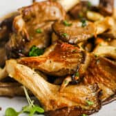 close up of plated Garlic Butter Oyster Mushrooms