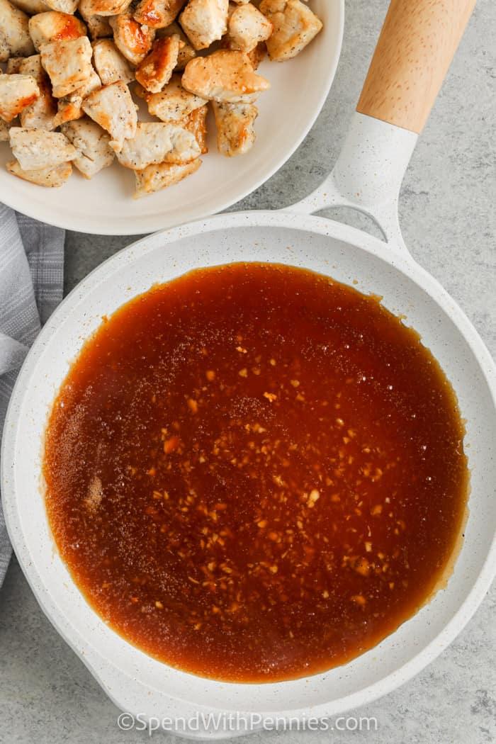 sauce and chicken to make Honey Garlic Chicken