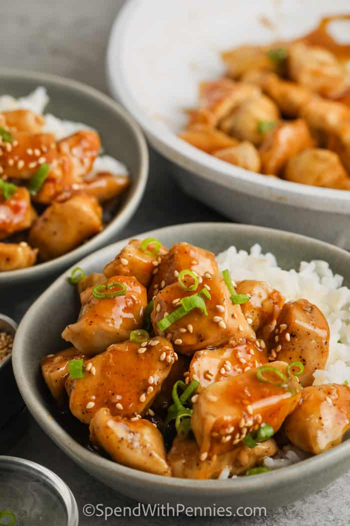close up of Honey Garlic Chicken with rice in a bowl