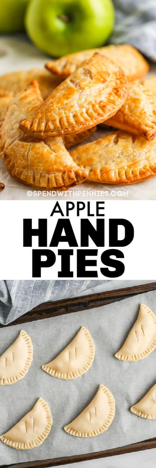 Apple Hand Pies before and after cooking with a title