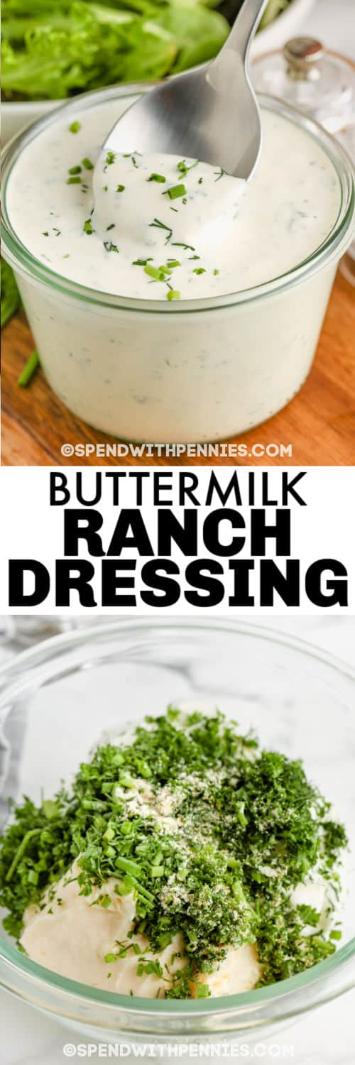 Buttermilk Ranch Dressing & Dip ingredients in a bowl and mixed with a title