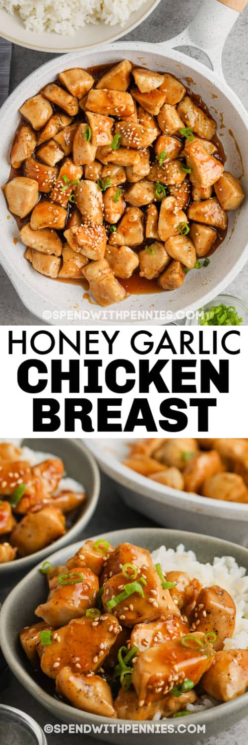 cooked Honey Garlic Chicken and plated dish with a title