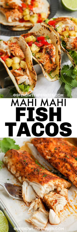 fish to make Mahi Mahi Tacos with plated dish and a title