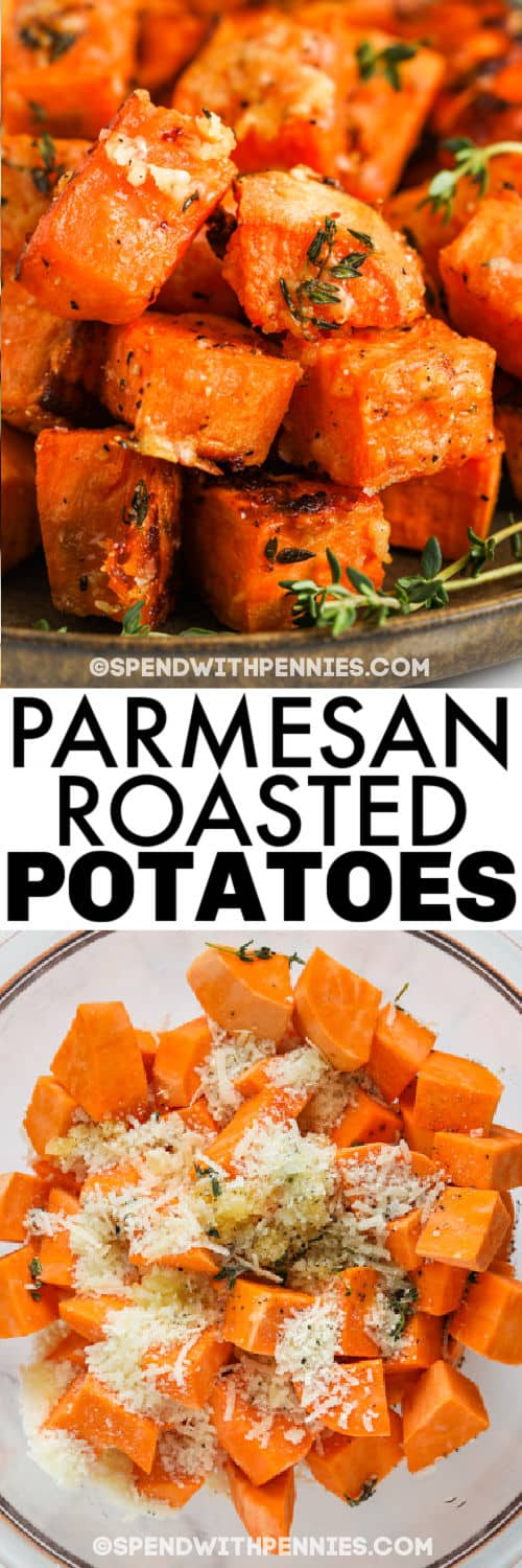 ingredients to make Parmesan Sweet Potatoes with plated dish and a title