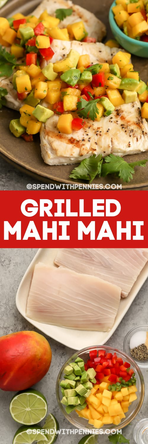 Grilled Mahi Mahi and ingredients with text