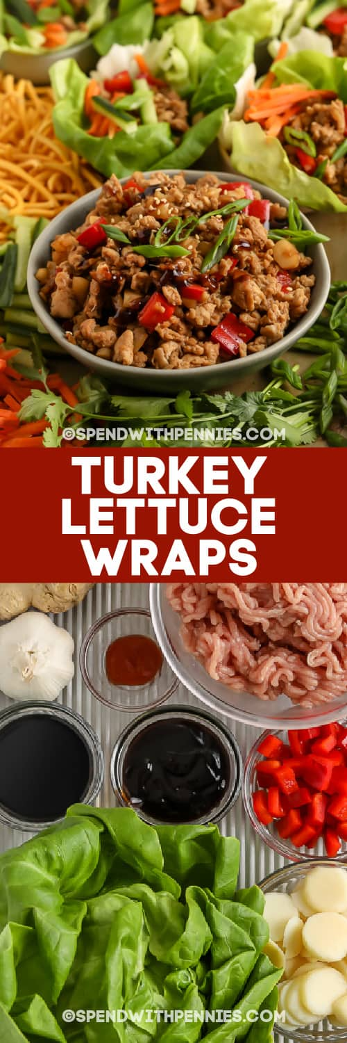 Turkey Lettuce Wraps and ingredients with text