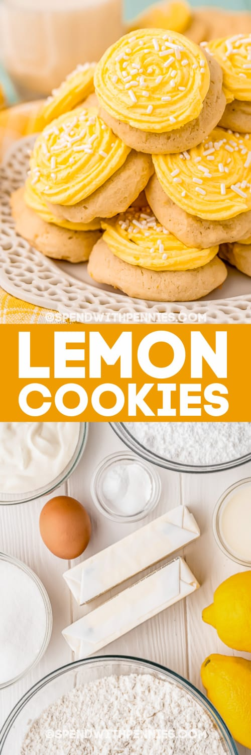 pile of lemon cookies and ingredients with text
