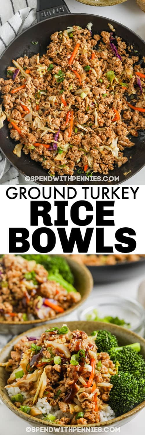 cooking and plated Sesame Ground Turkey Bowls with a title
