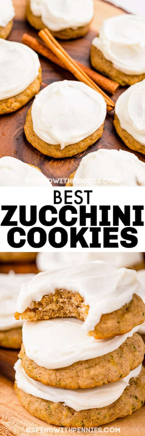 Zucchini Cookies on a plate and in a pile with a title