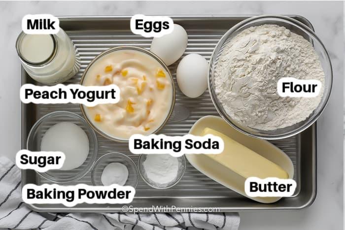 Ingredients assembled to make yogurt pancakes with labels