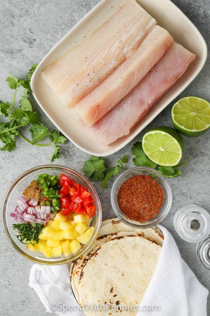 ingredients to make Mahi Mahi Tacos
