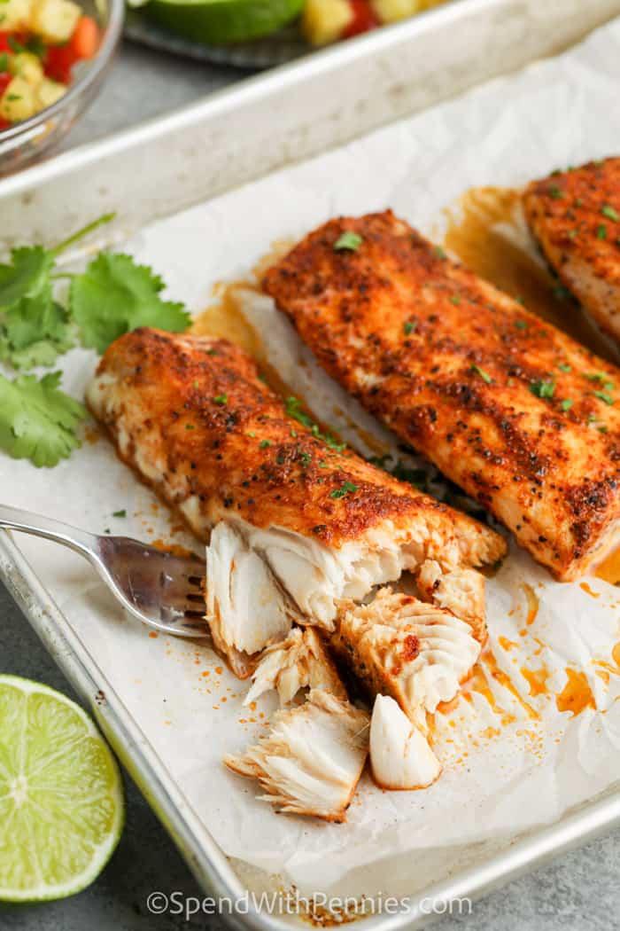 cooked fish to make Mahi Mahi Tacos