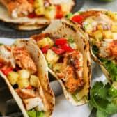 three Mahi Mahi Tacos on a platter