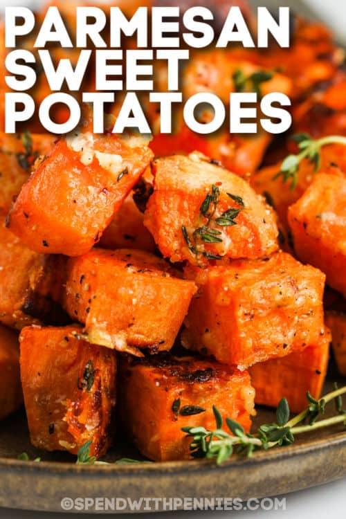 plated Parmesan Sweet Potatoes with writing