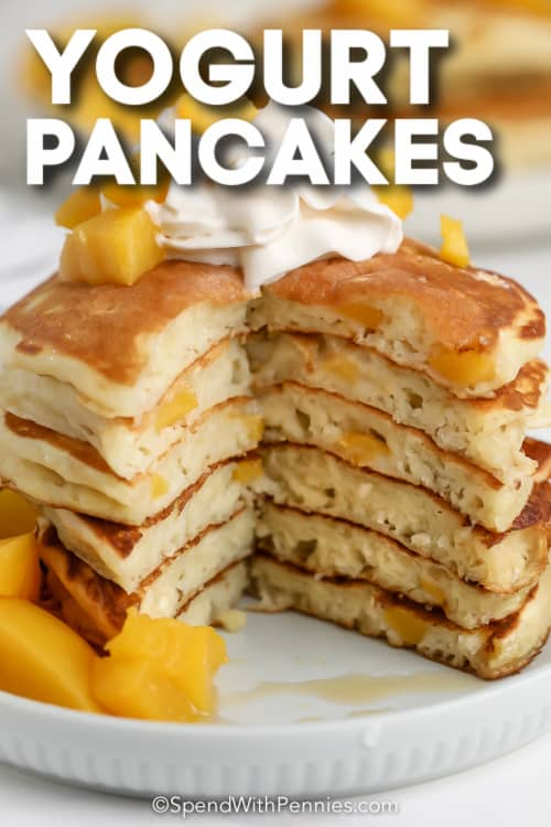 stack of yogurt pancakes with text