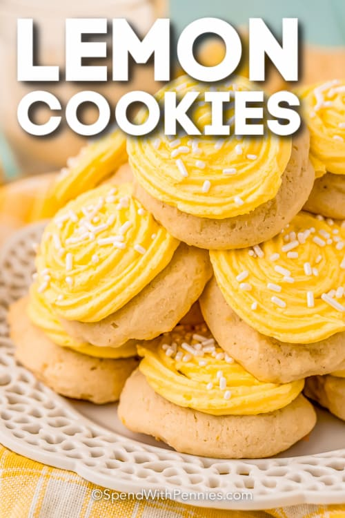pile of lemon cookies with icing with text