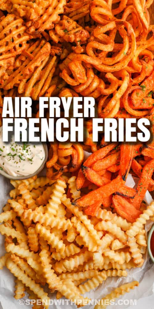 cooked Air Fryer Frozen French Fries with writing