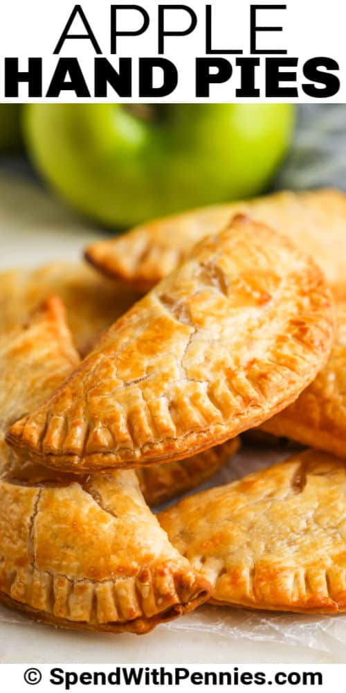close up of plated Apple Hand Pies with a title