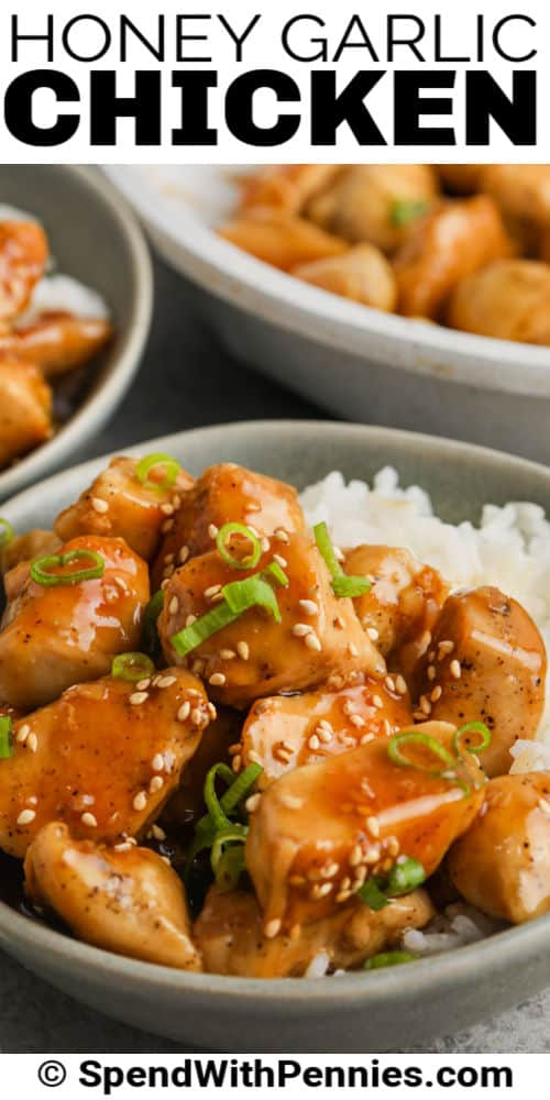 close up of plated Honey Garlic Chicken with a title