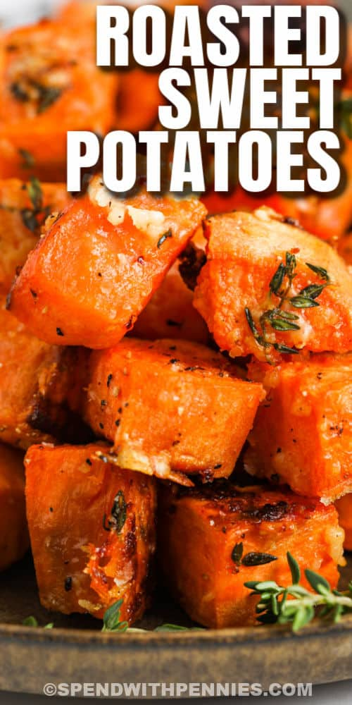 close up of cooked Parmesan Sweet Potatoes with writing