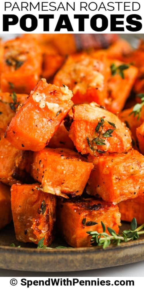 close up of Parmesan Sweet Potatoes with a title