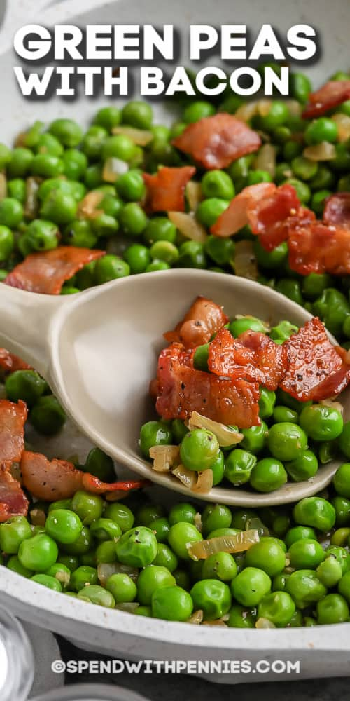Green Peas with Bacon with beige spoon with text