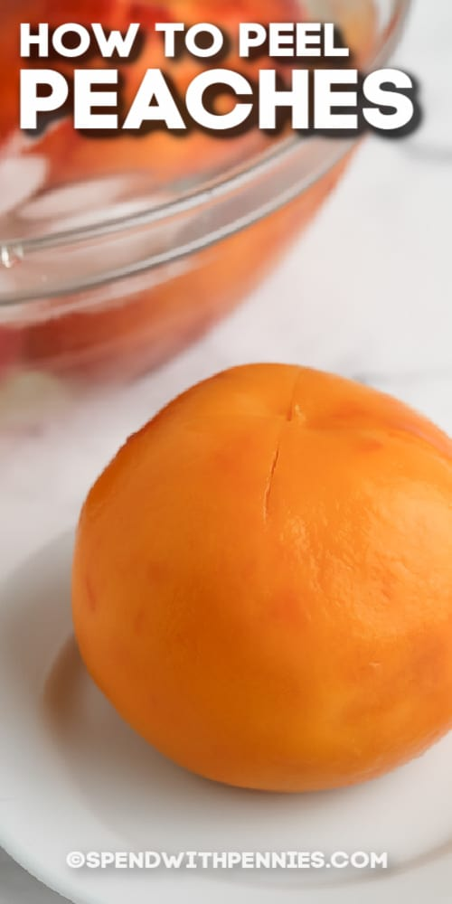 a peeled peach on a plate with text