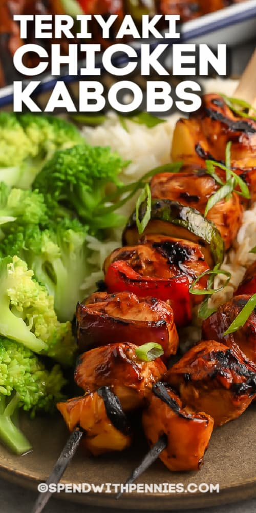 teriyaki chicken kabobs with rice and broccoli with text