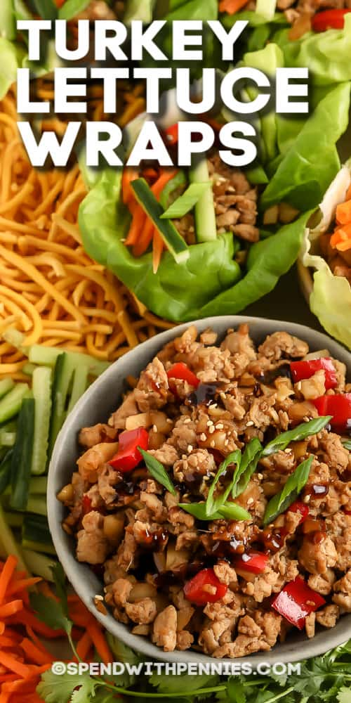 top view of Turkey Lettuce Wraps with text
