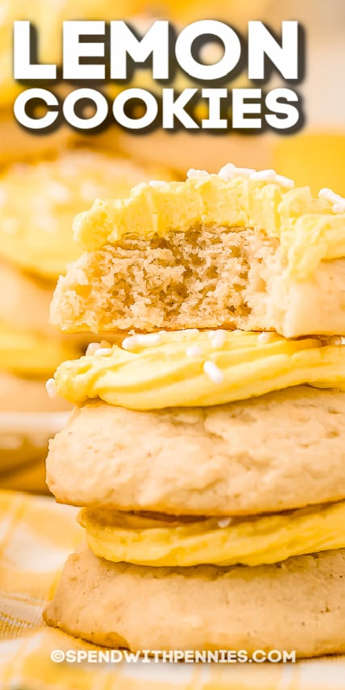 stack of lemon cookies with bite taken out with text